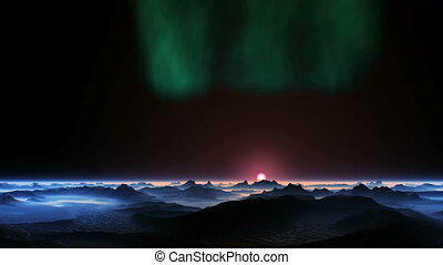 Aurora Borealis over an Alien Planet