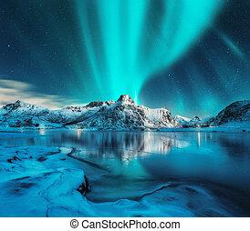 Aurora borealis over snowy mountains and frozen sea coast