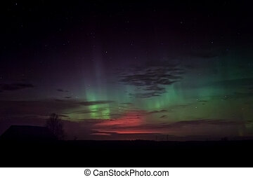 Aurora Borealis Over The Barn House