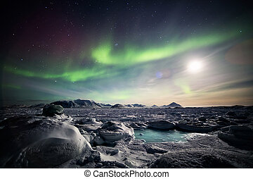 Aurora Borealis over the frozen Arctic fjord - Spitsbergen,...