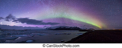Aurora borealis Panorama - The Northern Light Aurora...