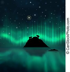 Aurora borealis, polar bears, iceberg and reflections on the water