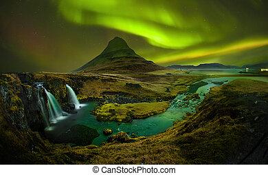 aurora, em, kirkjufell, e, cachoeira, kirkjufellsfoss,...