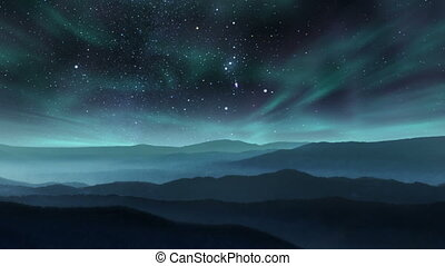 Time lapse video of winter mountains with starry sky and northern lights above