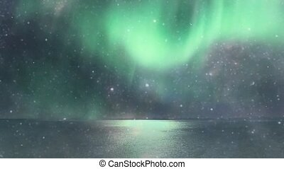 Aurora in the sky among the ocean
