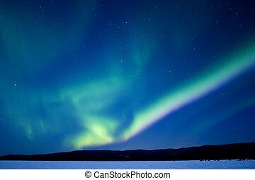Aurora over Birch Lake, Alaska