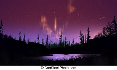 Aurora over land reflecting in the water