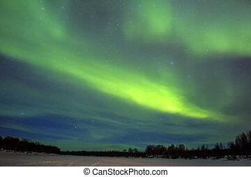 (aurora, północny, na, snowscape., światła, borealis)