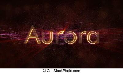 Aurora - Shiny looping city name text animation - Aurora -...