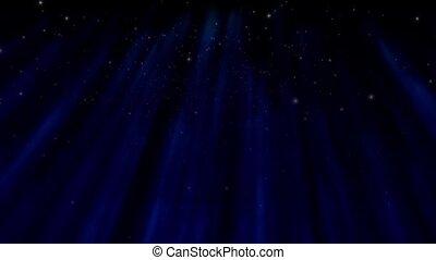 Aurora  - Snow falls against a shimmering blue aurora