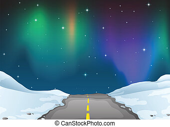 Aurora - Illustration of aurora at night