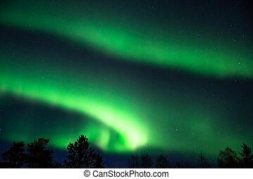 aurore, ciel, vert, étoilé, boréal
