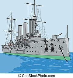 aurore, vecteur, croiseur