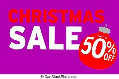 aus, 50%, auf, zeichen, verkauf, weihnachten