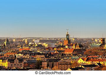 aus, ansicht, sonnenuntergang, dachenden, stockholm