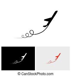aus, &, ausstellung, hoch, vektor, nehmen, pfad, motorflugzeug, geschwindigkeit, ihr, ikone
