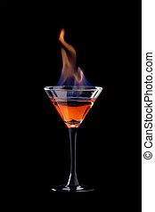 aus, brennender, schwarz, cocktail
