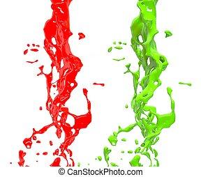 aus, element, hintergrund., spritzen, grün, design, weiß rot