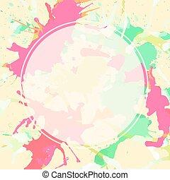 aus, farbe, spritzer, weißer kreis, künstlerisch