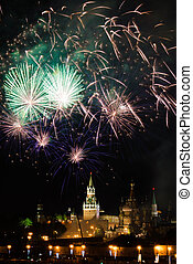 aus, feuerwerk, himmelsgewölbe, Kreml