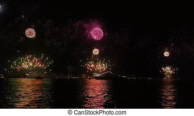 aus, firework, sea.