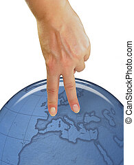 aus, frau, ausstellung, symbol, hand, menschliche , erdeglobus