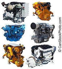 aus, freigestellt, satz, engines., weißes