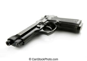 aus, gewehr, hand, schwarzer hintergrund, weißes, pistole