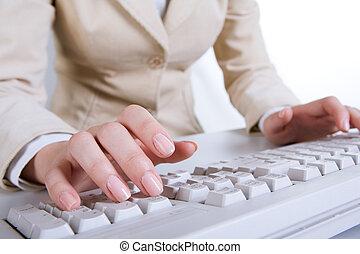 aus, hände, tastatur