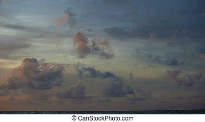 aus, himmelsgewölbe, bewölkt, wasserlandschaft