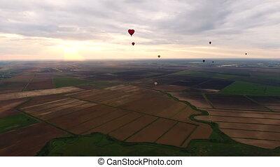aus, himmelsgewölbe, luft, heiß, field.aerial, luftballone,...