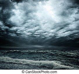 aus, himmelsgewölbe, stürmischer ozean