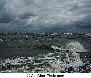 aus, himmelsgewölbe, stürmisches meer