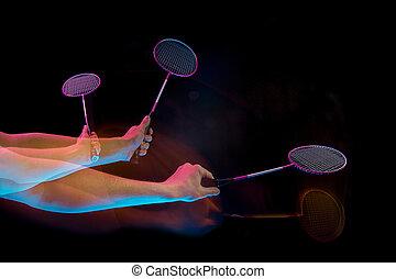 aus, junger, badminton, schwarzer hintergrund, hände, spielende , mann