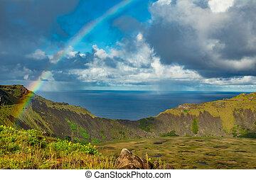 aus, kau, vulkanisch, regenbogen, wasserlandschaft, rano, ...