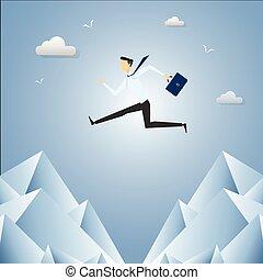 aus, lücke, springen, geschäftsmann, mountain., felsformation