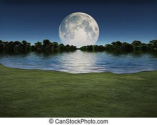 aus, moonrise, see