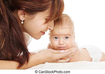 aus, neugeborenes, hintergrund, mutter, baby, weißes, glücklich