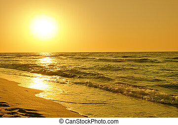 aus, reizend, sonnenaufgang, meer
