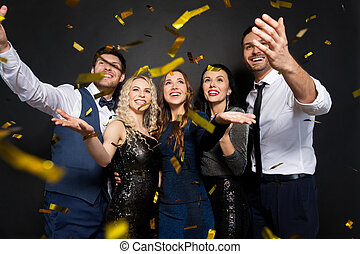 aus, schwarz, unter, konfetti, party, friends, glücklich