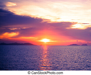 aus, Sonnenuntergang, meer