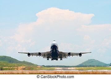 aus, startbahn, flughafen, nehmen, oben, motorflugzeug