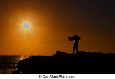 aus, trocknen, sonnenuntergang, surfer