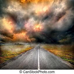 aus, wolkenhimmel, landstraße, sturm, blitz