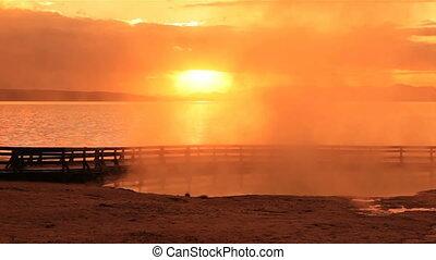 aus,  Yellowstone, See, Sonnenaufgang