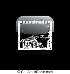auschwitz, 隔离, 描述, 单一, 矢量, 图标