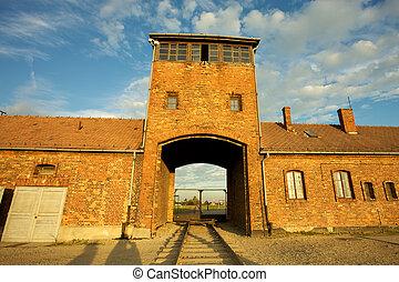 Auschwitz-Birkenau Concentration Camp - Entrance of the Nazi...