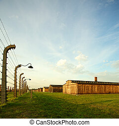 Auschwitz-Birkenau Concentration Camp - Wood houses in...