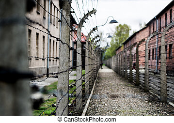 Auschwitz Concentration Camp - Electric fence in former Nazi...
