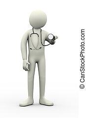 auscultation, 3d, stéthoscope, docteur